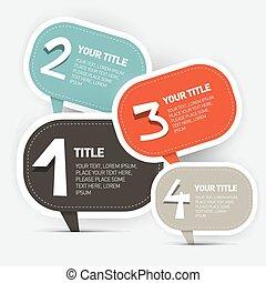 レイアウト, 4, ベクトル, ステップ, ペーパー, infographics
