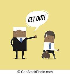 レイオフ, 失業者, 概念, 怒る, 発砲, 仕事, 上司, 縮小, アフリカ, 従業員, ビジネスマン, concept., employee.
