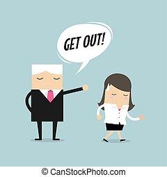 レイオフ, 失業者, 概念, 怒る, 発砲, 仕事, 上司, 縮小, 概念, vector., employee., 従業員