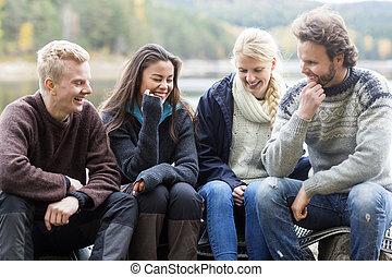 レイクショア, 微笑, 楽しむ, 友人, キャンプ