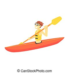 レクリエーション, セット, 練習する, カヤックを漕ぐ, ティーネージャー, スポーツ, 部分, 特徴, 人, 漫画, 極点