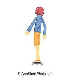 レクリエーション, セット, 練習する, skateoard, ティーネージャー, スポーツ, 部分, 特徴, 乗馬, 人, 漫画, 極点