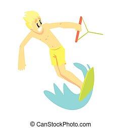 レクリエーション, セット, 練習する, wakeboard, ティーネージャー, スポーツ, 部分, 特徴, 人, 漫画, 極点
