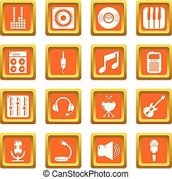 レコーディングスタジオ, シンボル, アイコン, セット, オレンジ正方形, ベクトル