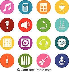 レコーディングスタジオ, シンボル, アイコン, セット, カラフルである, 円, ベクトル