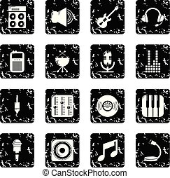 レコーディングスタジオ, シンボル, アイコン, セット, グランジ, ベクトル
