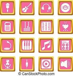 レコーディングスタジオ, シンボル, アイコン, セット, ピンク, 広場, ベクトル