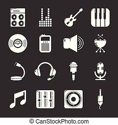 レコーディングスタジオ, シンボル, アイコン, セット, 灰色, ベクトル