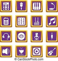 レコーディングスタジオ, シンボル, アイコン, セット, 紫色, 広場, ベクトル