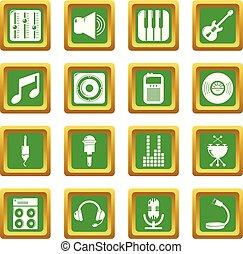 レコーディングスタジオ, シンボル, アイコン, セット, 緑, 広場, ベクトル