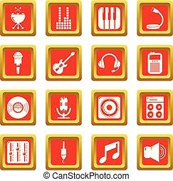 レコーディングスタジオ, シンボル, アイコン, セット, 赤の広場, ベクトル