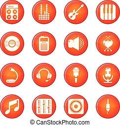 レコーディングスタジオ, シンボル, アイコン, セット, 赤, ベクトル