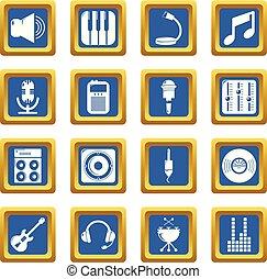 レコーディングスタジオ, シンボル, アイコン, セット, 青い正方形, ベクトル