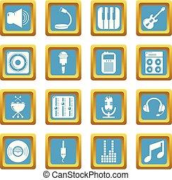 レコーディングスタジオ, シンボル, アイコン, セット, sapphirine, 広場, ベクトル
