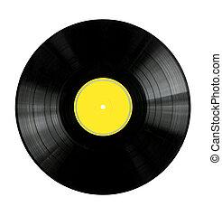 レコード, ビニール, 黄色, ラベル