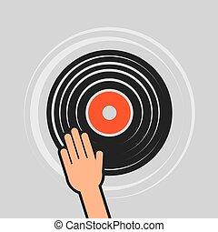 レコード, 手, ビニール, かきなさい