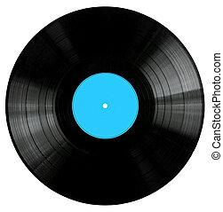 レコード, 青, ビニール, ラベル