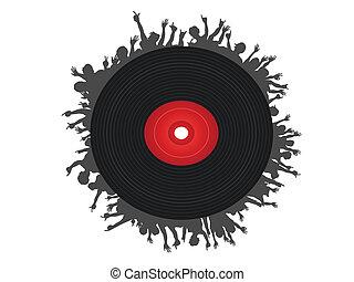 レコード, 黒, のまわり, 人々