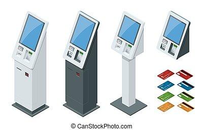 レシート。, 概念, ターミナル, 支払, セット, 感触, 等大, セルフサービス, システム, デジタル, オンラインで, キオスク, スクリーン, 借方, 支払い, カード, nfc, 現金, クレジット, ベクトル, 支払, ターミナル, 対話型である