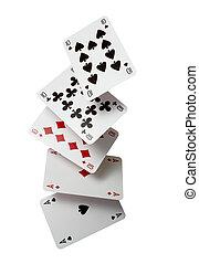 レジャー, トランプ, ポーカー, 賭け, ゲーム