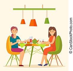 レストラン, から, カフェ, 食べること, 友人, ベクトル