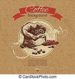 レストラン, カフェ, メニュー, 引かれる, コーヒーハウス, バックグラウンド。, コーヒー, 型, 手, バー
