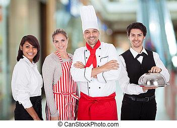 レストラン, グループ, スタッフ