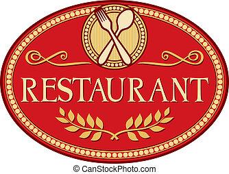 プレート, レストラン, 印, シンボル, 看板, シンボル, 掛かること.