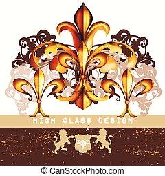 レストラン, スタイル, ∥あるいは∥, ビジネス, ロゴ, 型, heraldic, de, 皇族, メニュー, fleur, 贅沢, lis, ブティック, アイデンティティー