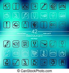 レストラン, セット, アイコン