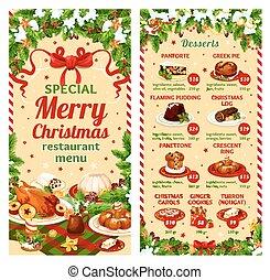 レストラン, デザート, 夕食, ベクトル, メニュー, クリスマス