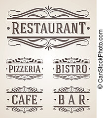レストラン, ラベル, カフェ, 印