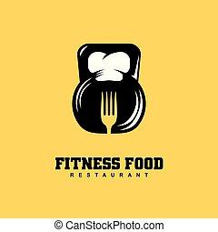 レストラン, ロゴ, フィットネス, デザイン, 食物, 概念