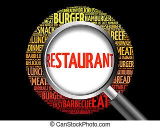 レストラン, 単語, 雲, ∥で∥, 拡大鏡