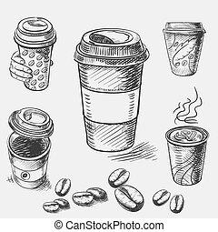 レストラン, 型, スケッチ, カップ, いたずら書き, テークアウトの コーヒー, 手, ペーパー, カフェ, ...