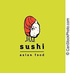 レストラン, 寿司, セット, アイコン