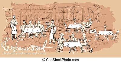 レストラン, 屋外, 人々, -, 手, 背景, 引かれる, 横, カフェ