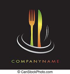 レストラン, 料理, logotype