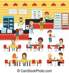 レストラン, 暖かい, 人々, 水筒, ケータリング, 新たに, 料理された, 食べること, 食事, 水筒, ベクトル, cafeteria., service., カフェテリア