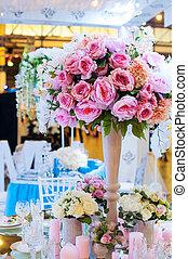 レストラン, 花束, 装飾, 花, テーブル, 美しい, 結婚式