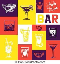 レストラン, 飲み物, symbols., バー, アルコール中毒患者, メニュー, 飲料, バー。, 手, ベクトル, カフェ, レトロ, テンプレート, 型, パンフレット, 引かれる, design.