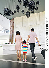レセプション, 歩くこと, 家族, ホテル
