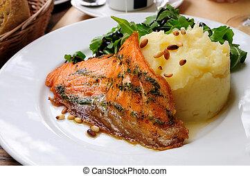 レタス, ポテト, -, マッシュ, 鮭, グリルされた, 新たに
