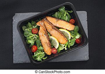 レタス, 鮭, 焼かれた, 小片
