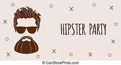 レタリング, あごひげを生やしている, ファッション, シルエット, 10, -, eps, イラスト, 隔離された, バックグラウンド。, ベクトル, 情報通, 白, パーティー。