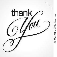 レタリング, あなた, ベクトル, 感謝しなさい, 手