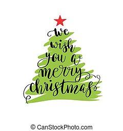 レタリング, カリグラフィー, 木, クリスマス