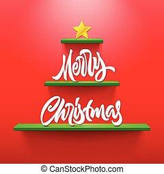 レタリング, カリグラフィー, 棚, 形づくられた, 木, 挨拶, 陽気, 休日, クリスマス