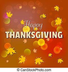 レタリング, カード, テキスト, 感謝祭, 効果, 黄色, 挨拶, bokeh, 落ち葉, 日, かえで, 幸せ