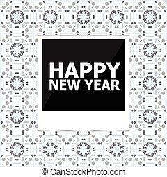 レタリング, カード, 写真, 挨拶, イラスト, ベクトル, 年, 新しい, 幸せ, フレーム